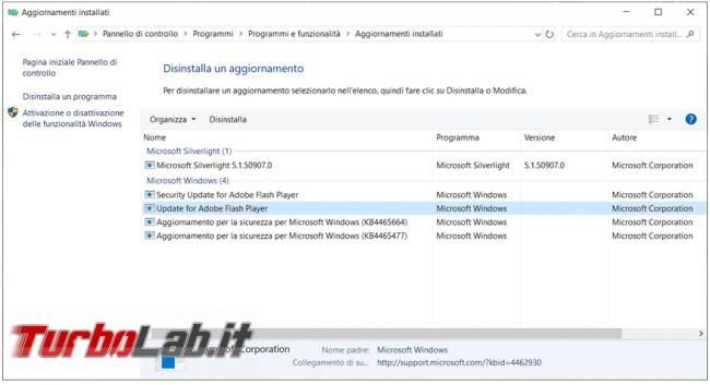 Come disinstallare aggiornamenti Windows prompt comandi Powershell