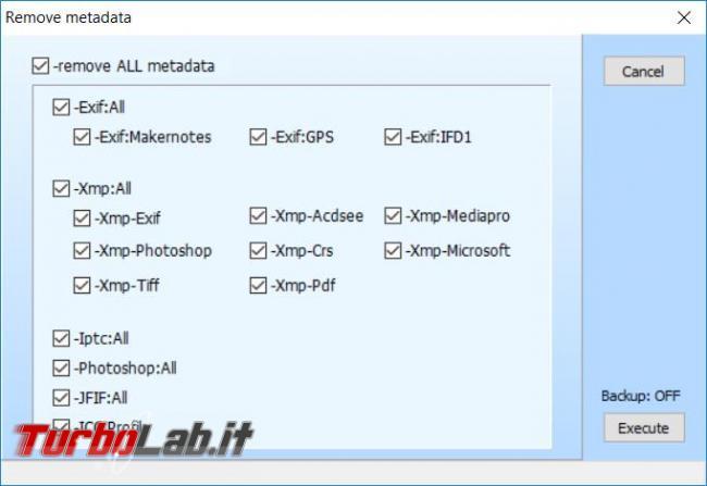 Come eliminare metadati informazioni personali foto immagini