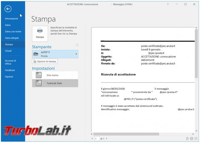 Come eliminare nome messaggi, .msg, posta Outlook quando sono stampati convertiti PDF