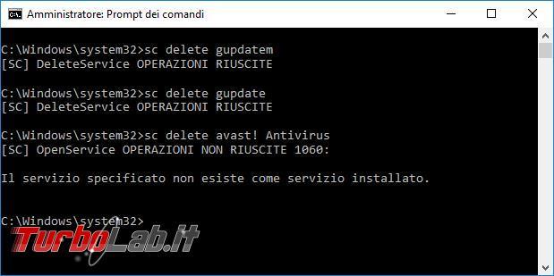 Come eliminare servizio Windows riga comando, Powershell Autoruns