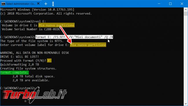 Come formattare disco linea comando Windows 10 (guida format senza conferma etichetta volume)