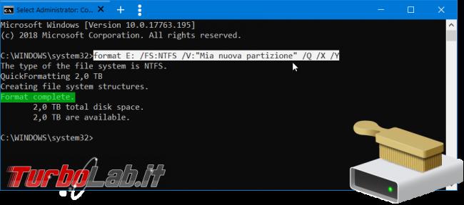 Come formattare disco linea comando Windows 10 (guida format senza conferma etichetta volume) - format da linea di comando spotlight