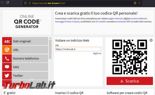 Come generare QR code direttamente online
