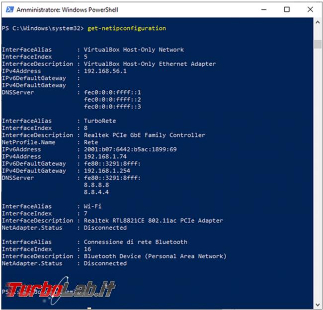 Come gestire scheda rete raccogliere informazioni PowerShell