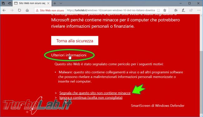 Come ignorare avviso schermata rossa aprire comunque sito pericoloso / non sicuro Microsoft Edge (SmartScreen) - zShotVM_1542445783