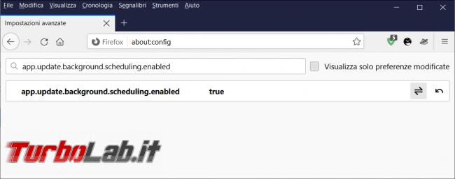 Come impedire ricerca aggiornamenti automatici, ogni sette ore, Firefox 90