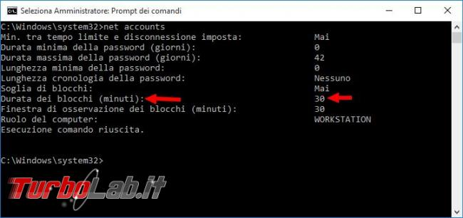 Come impostare limite numero tentativi accesso Windows password errata