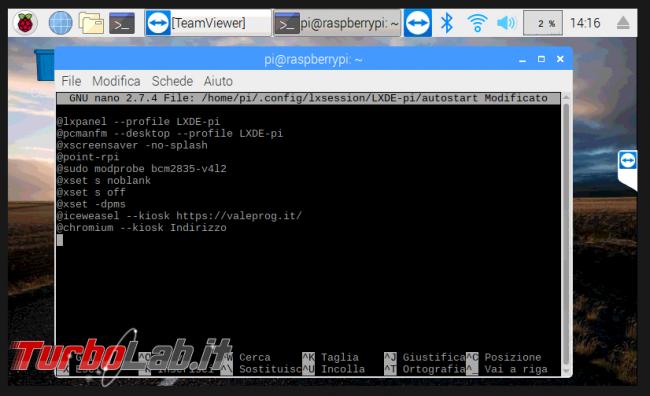Come impostare Raspberry PI modalità chiosco - 2019-04-02 14_16_33-raspberrypi - mani libere - TeamViewer