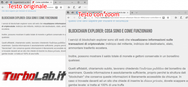 Come ingrandire caratteri pagine web Chrome, Firefox Edge - zoom microsoft edge