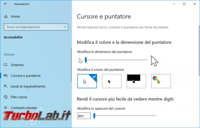 Come ingrandire freccia mouse Windows 10 (cambiare colore puntatore, aumentare contrasto cursore) - zShotVM_1552753401