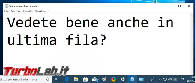 Come ingrandire testo Blocco note (zoom dimensione caratteri Notepad)