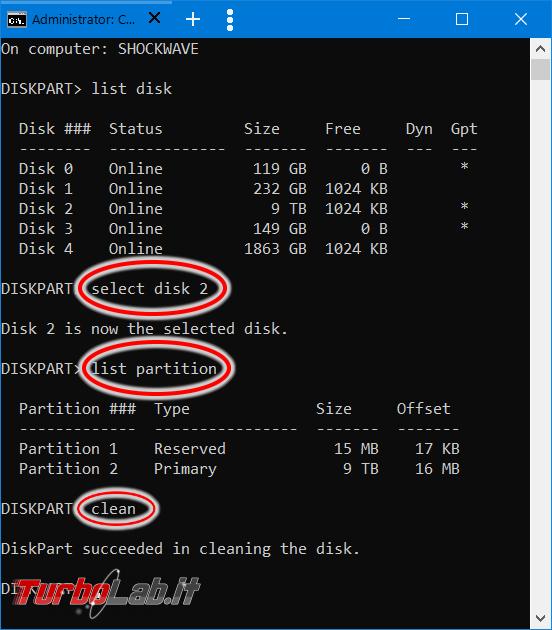 Come inizializzare / convertire disco MBR GPT tramite linea comando Diskpart Windows 10