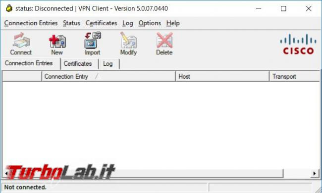 Come installare Cisco VPN Client Windows 10