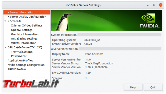 Come installare driver NVIDIA notebook Ubuntu 20.04 attivare GPU GeForce GTX - nvidia x server settings