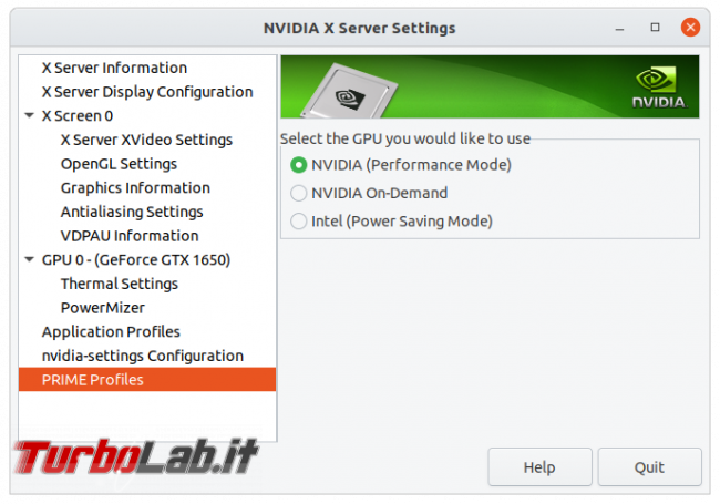 Come installare driver NVIDIA notebook Ubuntu 20.04 attivare GPU GeForce GTX - nvidia x server settings prime profiles