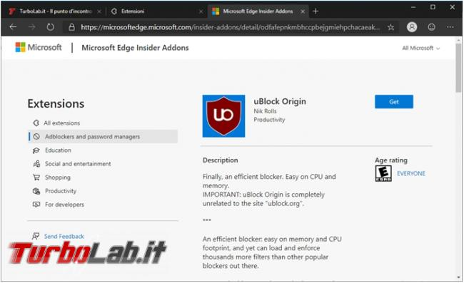 Come installare estensioni Chrome Microsoft Edge Chromium