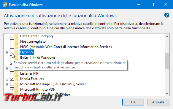 Come installare Hyper-V VirtualBox contemporaneamente stesso PC risolvere errore VT-x is not available (VERR_VMX_NO_VMX) - Apertura sessione macchina virtuale non riuscita