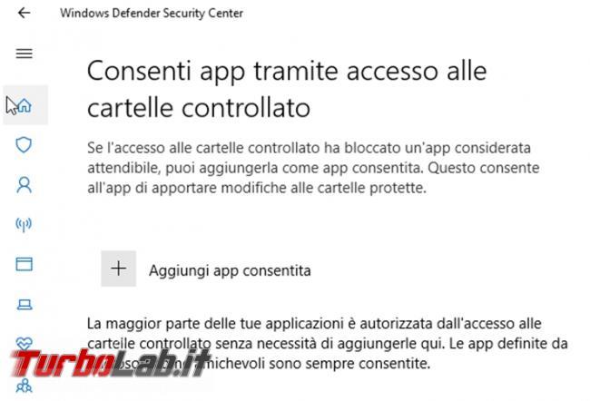 Come installare LibreOffice permettergli salvare documenti quando l'accesso cartelle controllate Windows Defender è attivato