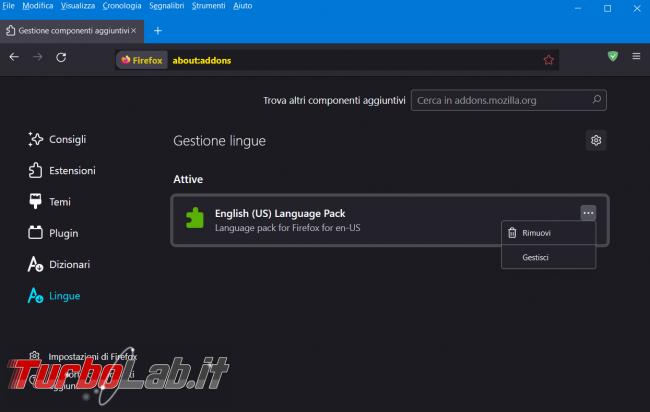 Come installare linguaggio aggiuntivo Firefox cambiare menu, messaggi notifiche