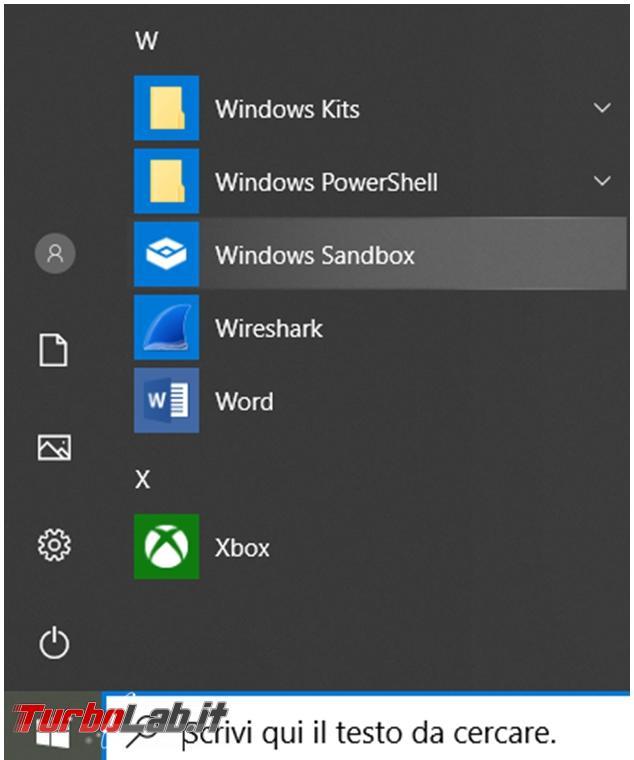 Come installare Windows Sandbox Windows 10 Home