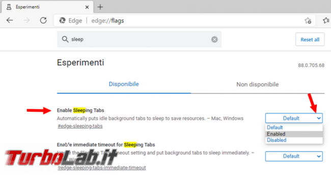 Come mettere sospensione schede non attive Microsoft Edge risparmiare memoria