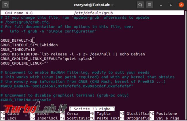 Come modificare menu GRUB Ubuntu