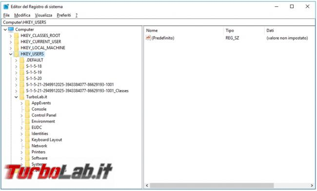 Come modificare registro configurazione account diverso