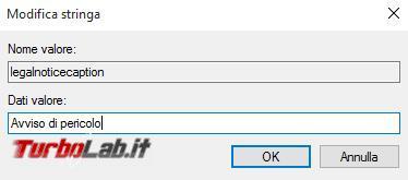 Come mostrare messaggio personalizzato all'avvio Windows