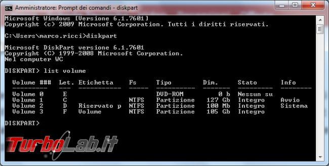 Come nascondere/visualizzare partizione comando Diskpart