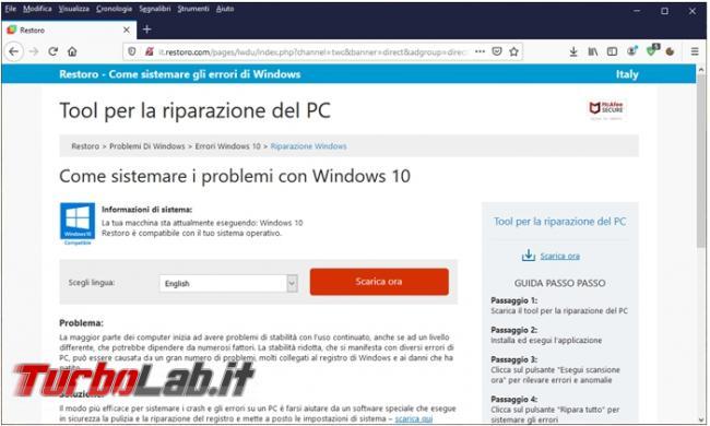 Come (non) sistemare errori Windows programma Restoro