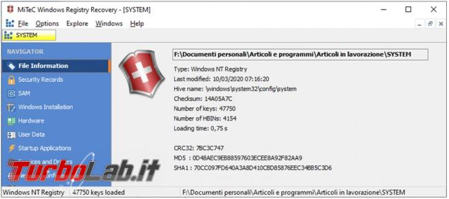 Come recuperare informazioni registro configurazione Windows offline