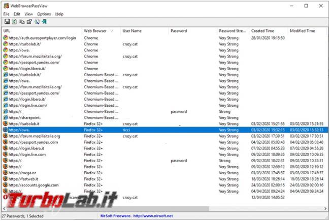Come recuperare password memorizzate Chrome, Firefox, Edge, Internet Explorer altri browser web