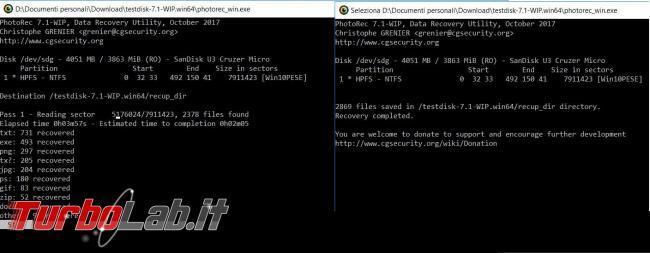Come recuperare Photorec file cancellati errore Windows Linux