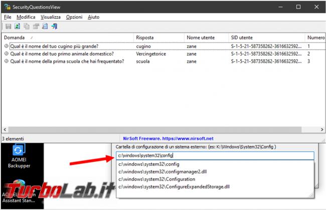 Come recuperare risposte domande sicurezza dell'account locale Windows 10
