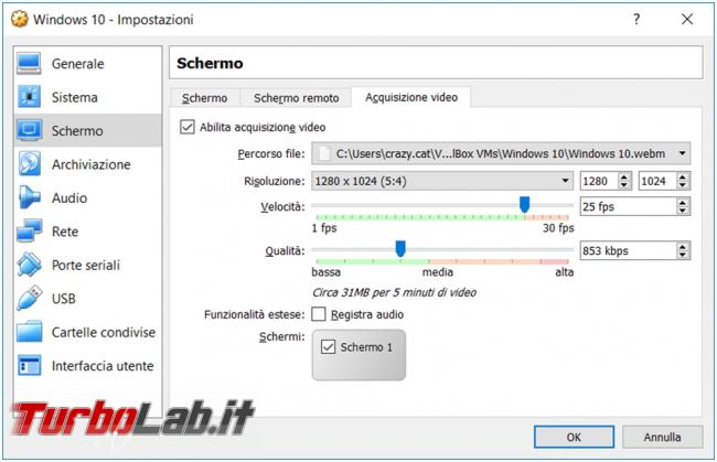 Come registrare video desktop macchina virtuale VirtualBox