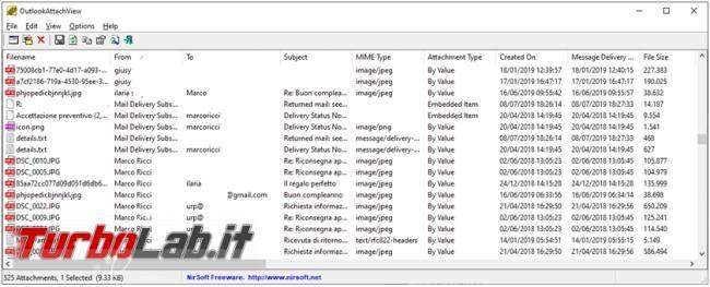 Come ricercare rimuovere allegati più grandi archivio posta PST Outlook