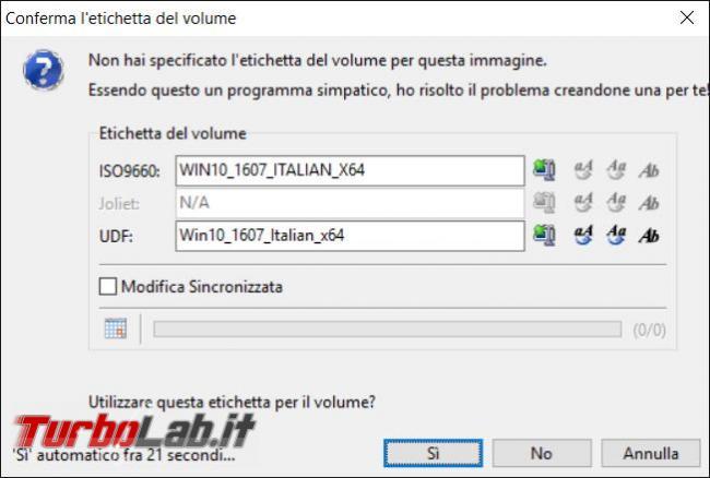 Come ricreare 'immagine ISO avviabile dopo avere modificato file originali disco d'installazione Windows 10