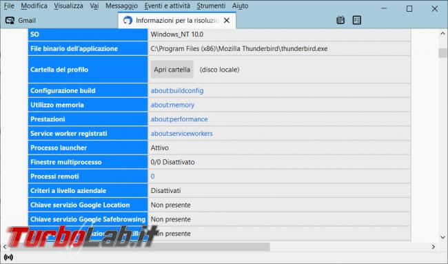 Come ricreare l'indicizzazione archivi Thunderbird ripristinare ricerca ( l'apertura programma)