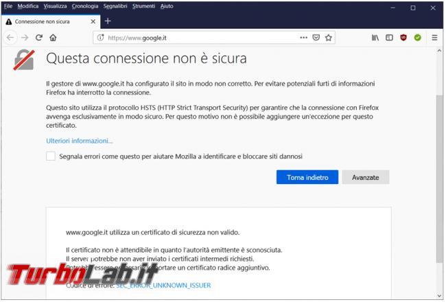 Come rimuovere certificato Windows impedisce collegamento Mozilla Firefox è scaduto