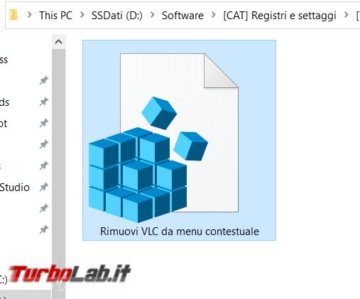 Come rimuovere comandi VLC menu contestuale Esplora file (tasto destro Windows 10)