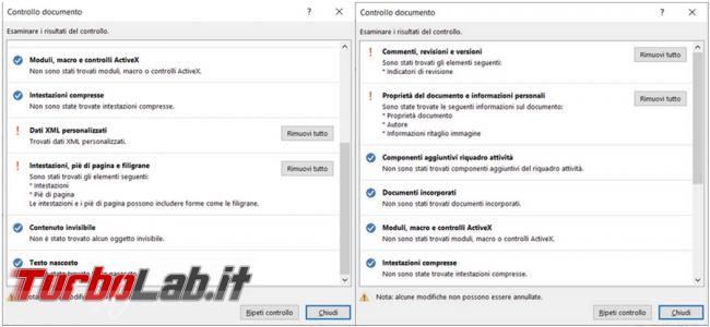 Come rimuovere dati informazioni personali documenti Microsoft Office
