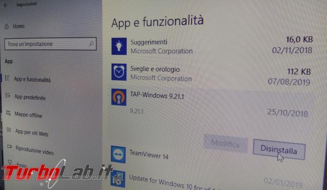 Come rimuovere, disinstallare, eliminare TAP-Windows Adapter, Viscosity Virtual Adapter ed altre schede rete Windows 10 - appe e funzionalità disinstalla software
