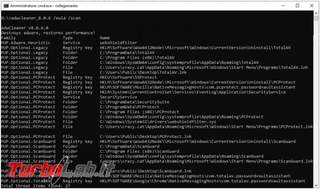 Come rimuovere malware programmi indesiderati riga comando: guida Malwarebytes AdwCleaner