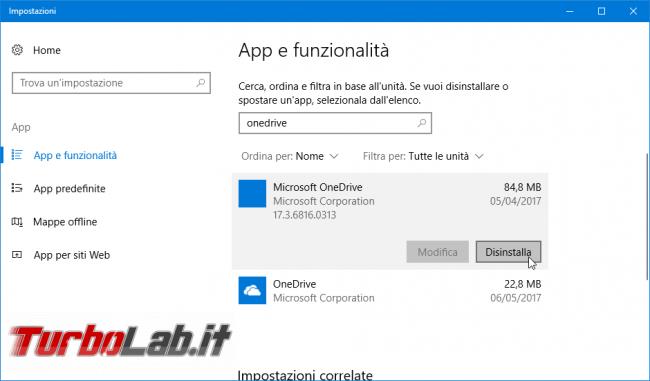 """Come rimuovere OneDrive Windows 10: guida disinstallare OneDrive modo """"pulito"""""""
