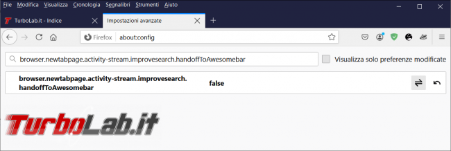 Come ripristinare comportamento originale barra ricerca nuova scheda Firefox 89