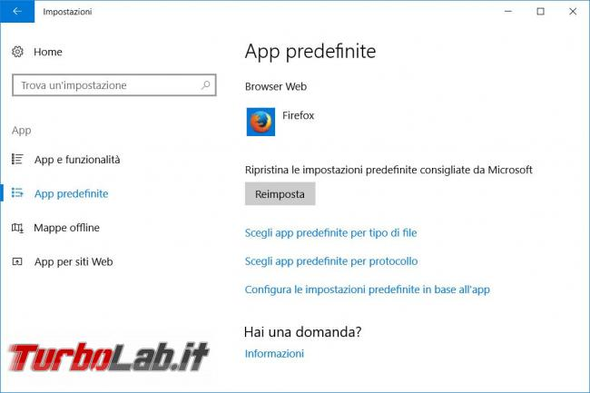Come ripristinare l'apertura collegamenti esterni browser predefinito Windows 10