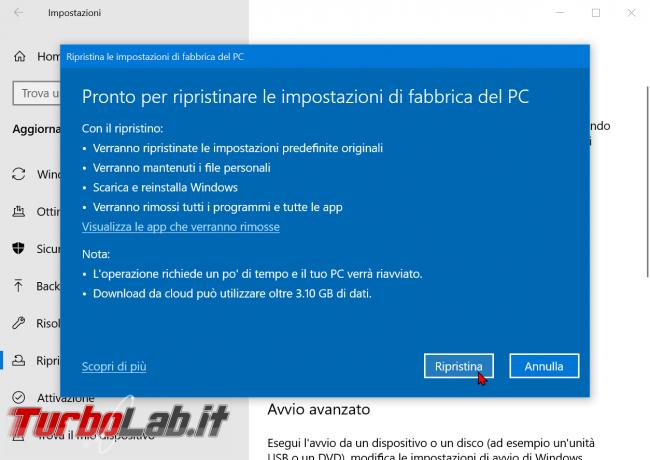 Come ripristinare resettare Windows 10 modo più facile: guida reinstallazione cloud - zShotVM_1584902885