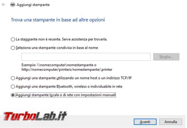 Come ripristinare stampante virtuale Microsoft print to PDF quando mancante non funzionante