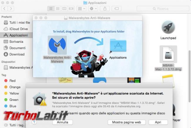 Come ripulire malware sistema operativo Mac OS X Malwarebytes Anti-Malware