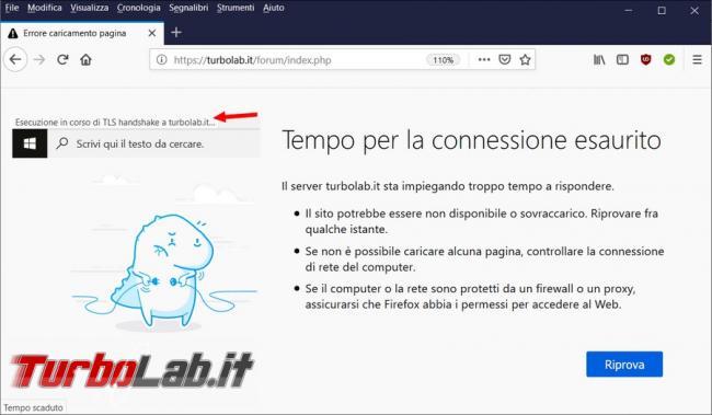 """Come risolvere l'errore """"Esecuzione corso TLS handshake"""" rallenta, impedisce, connessione Firefox"""